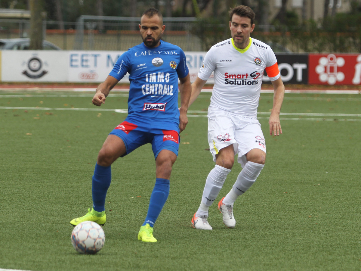 Daniel Rodrigo De Oliveira (hier nog bij Knokke) moet dit seizoen voor doelpunten zorgen bij SKN Sint-Niklaas en stelde in z'n eerste wedstrijd niet teleur.