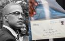 Malcolm X op een foto uit 1963. Rechts de brief met onthullingen.