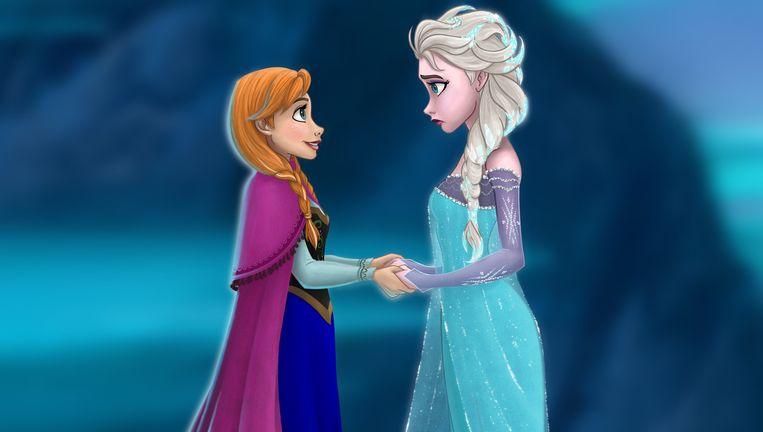 Het feit dat Elsa (r.) in 'Frozen' haar geheime krachten verborgen houdt, wordt gelezen als een metafoor voor het 'in de kast zitten'. Beeld rv