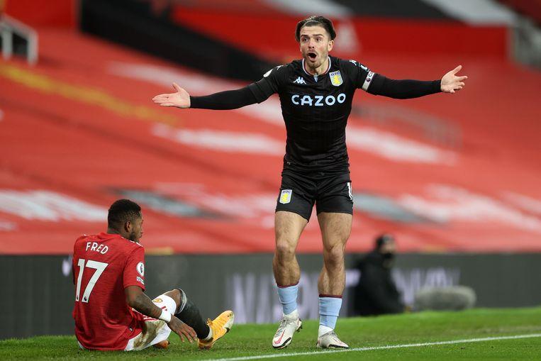 Jack Grealish in een wedstrijd tegen Manchester United. Beeld AFP