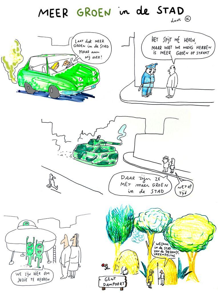 Meer groen in de stad Beeld Kamagurka, Humo
