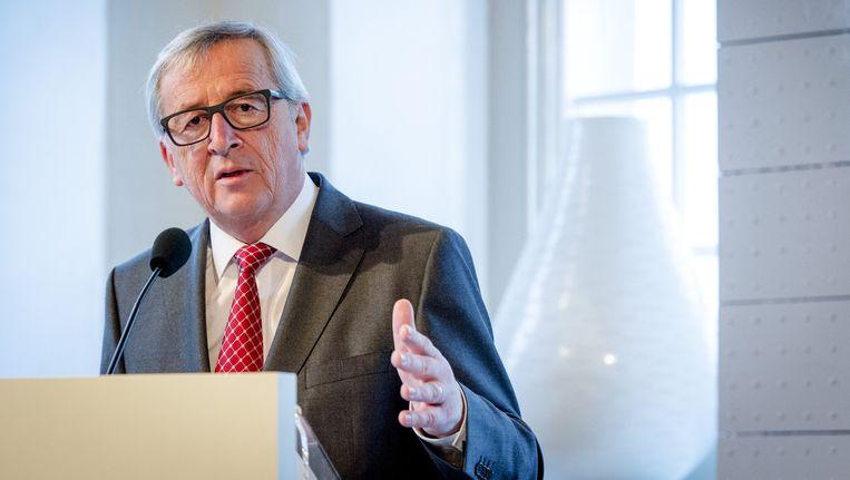 Jean-Claude Juncker in het Scheepvaartmuseum in het kader van het EU-Voorzitterschap van Nederland in de eerste helft van 2016. Beeld anp