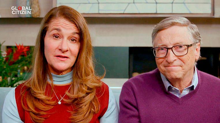 Melinda en Bill Gates tijdens een videoconferentie dit voorjaar. Beeld AFP