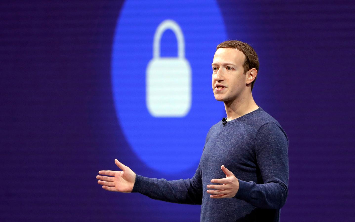 Facebook-CEO Mark Zuckerberg tijdens een speech voor software-ontwikkelaars in San Jose, Californië.