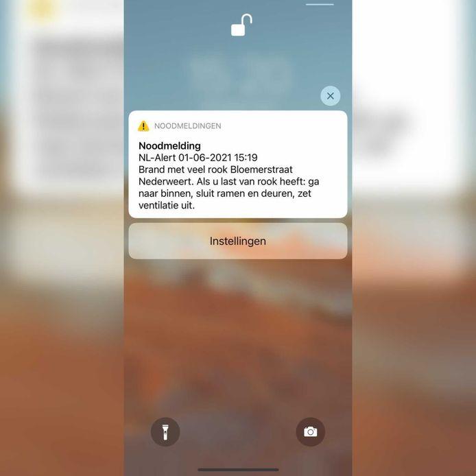 Screenshot van het NL-Alert dat verstuurd is.