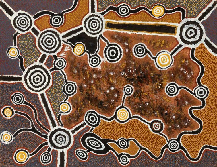 Jonathan Brown Kumintjarra, 'Maralinga - dode emoes' (1992, Pigmenten, emoe veren op paneel, 71 x 92 cm) — Collection Philippson © Courtesy of the artist. Beeld Vincent Everarts