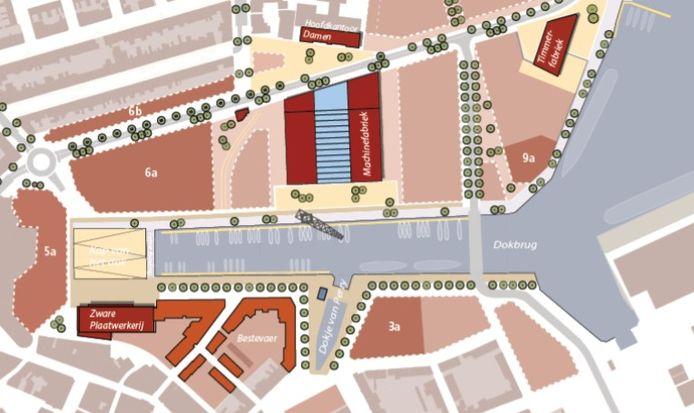 Indeling van de Stadshaven Scheldekwartier in het Dok in Vlissingen. Uit het bestemmingsplan dat in 2019 is vastgesteld.