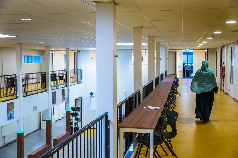 Het Cornelius Haga Lyceum in Amsterdam. De school biedt onderwijs aan op islamitische grondslag. Beeld Jean-Pierre Jans