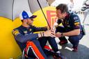 Pierre Gasly en teambaas Christian Horner.