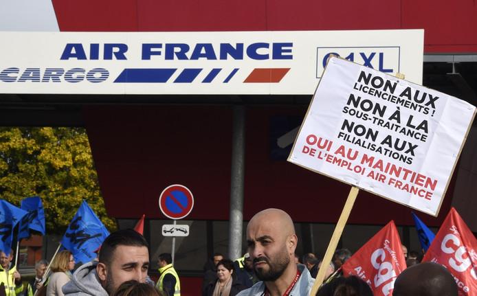 Personeel van Air France tijdens een eerdere staking bij de vliegtuigmaatschappij.