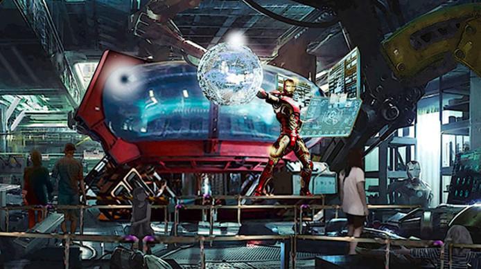 Een concepttekening van de nieuwe Iron Man-wachtrij.