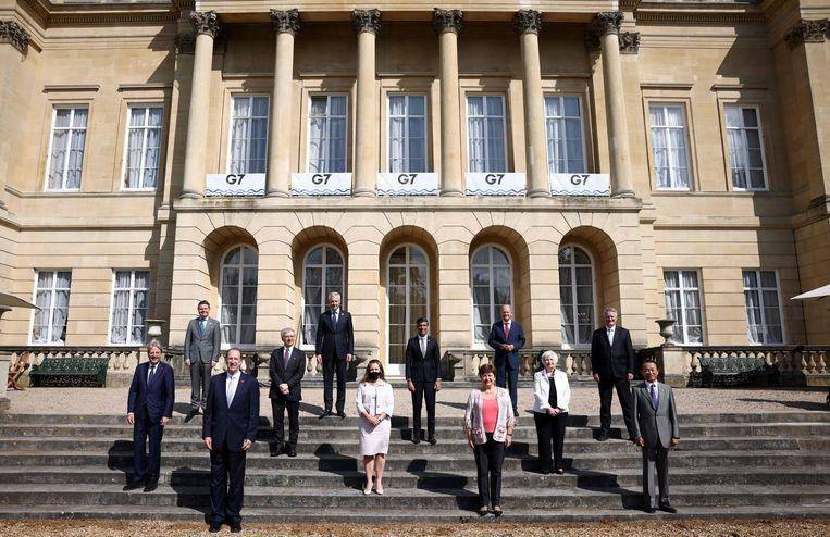 Zaterdagmiddag bereikten de zeven rijkste industrielanden (G7) een 'historisch akkoord' tegen belastingontwijking multinationals. Beeld AFP