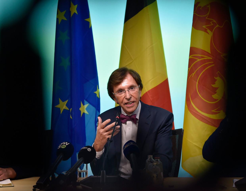 PS-voorzitter Elio Di Rupo bij de voorstelling van het Waalse regeerakkoord eerder deze week.