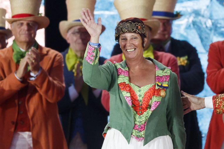 Corrine Butte, de eerste vrouwelijke wijnboer die gekroond wordt op het Wijnmakersfeest. Beeld EPA
