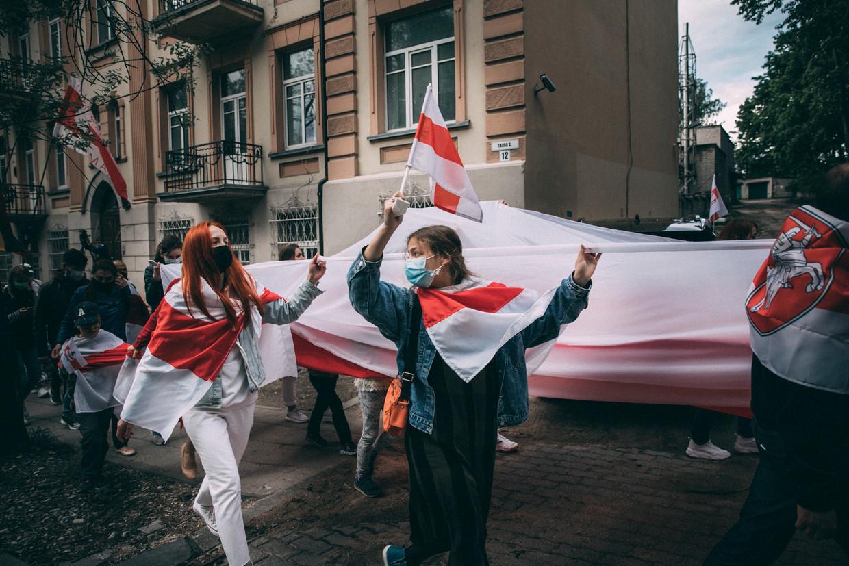 Belarussische dissidenten demonstreren in Vilnius tegen het bewind van president Aleksandr Loekasjenko. Beeld Marlena Waldthausen