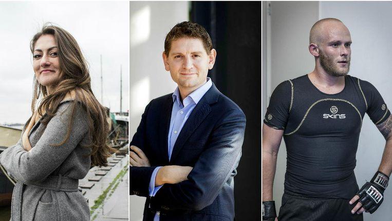 Dilan Yesilgöz-Zegerius, Jan Paternotte en Peter Kwint. Beeld Rink Hof/ANP/Dingena Mol