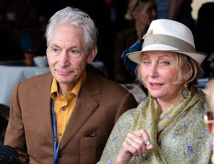 Charlie Watts, drummer of The Rolling Stones en zijn vrouw Shirley in 2012, met wie hij al getrouwd was sinds 1964.