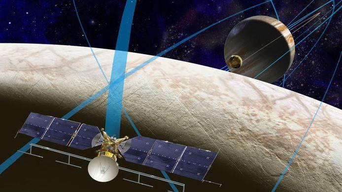 Een impressie van een geplande NASA-missie naar Europa, een maan van Jupiter met een oceaan van ijs.