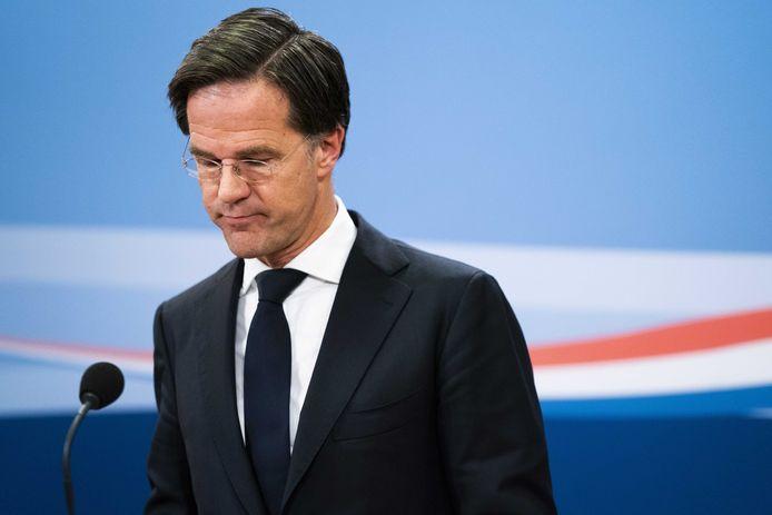 Ontslagnemend premier Mark Rutte (VVD). Zijn derde kabinet haalt de eindstreep niet.