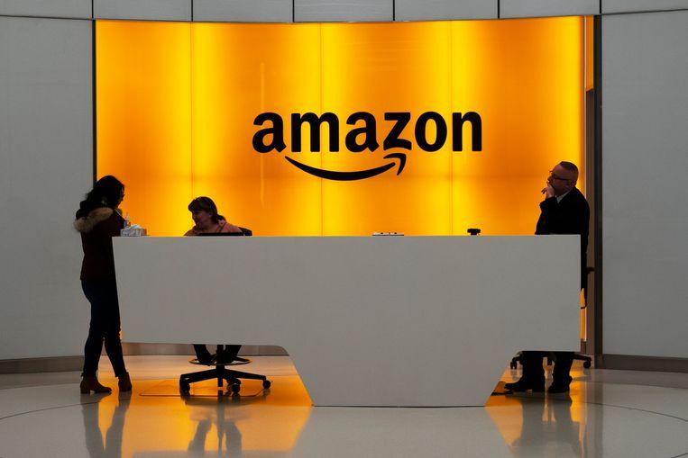 De lobby van het Amazon-kantoor in New York. Beeld AP