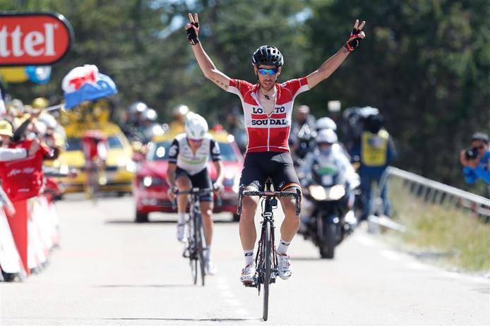 Thomas de Gendt kwam tijdens de twaalfde etappe als eerste over de eindstreep.