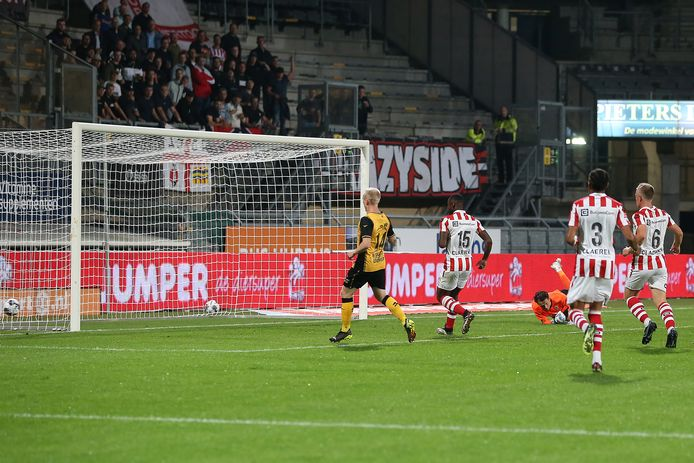 KERKRADE, Netherlands, 17-09-2021, football, Dutch Keuken Kampioen Divisie, Roda JC - Top Oss, Parkstad Limburg Stadium,  season 2021/2022,  Roda JC Kerkrade player Bryan Limbombe scores the 1-0