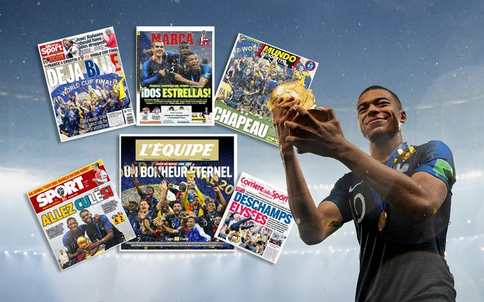 Kylian Mbappé met de beker. Inzetjes: de voorpagina's van Europese sportkranten.