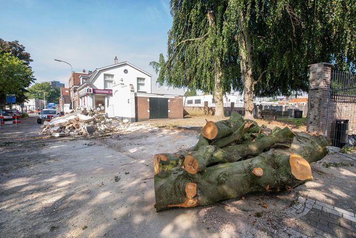 Grote tak van beuk op begraafplaats is afgebroken. Die vernielde de historische muur aan de voorkant.