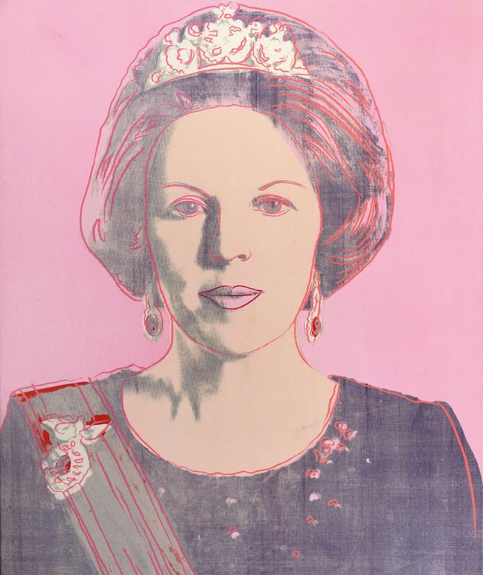 Olieverf van Andy Warhol, 'Queen Beatrix of the Netherlands', te zien in de tentoonstelling 'Vrouwen van Oranje' in museum Jan Cunen, onderdeel van de overkoepelende tentoonstelling 'Powervrouwen'.