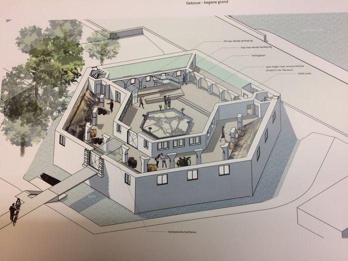 Schets van een enkele jaren geleden gemaakt plan als invulling van het Kruithuis.