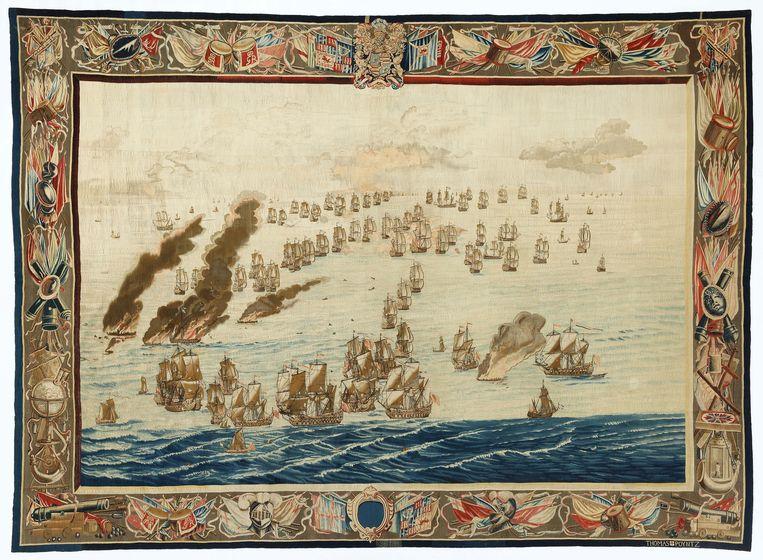Het tweede doek dat de aanval op het Engelse vlaggeschip Royal James toont. Beeld Het Scheepvaartmuseum