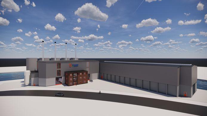 Artist impression van hoe de biomassacentrale in Zwolle eruit moet komen te zien.