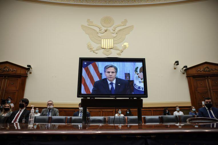 De Amerikaanse minister van Buitenlandse Zaken Antony Blinken tijdens de virtuele hoorzitting in het Congres. Beeld Getty Images