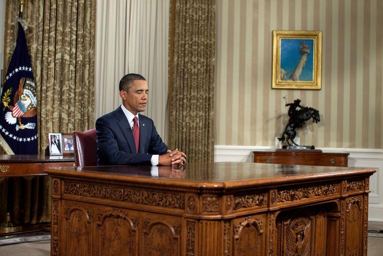 President Barack Obama spreekt aan het einde van de gevechtsmissie in Irak het land toe vanuit de Oval Office, 31 augustus 2010.  Beeld Pete Souza / The White House