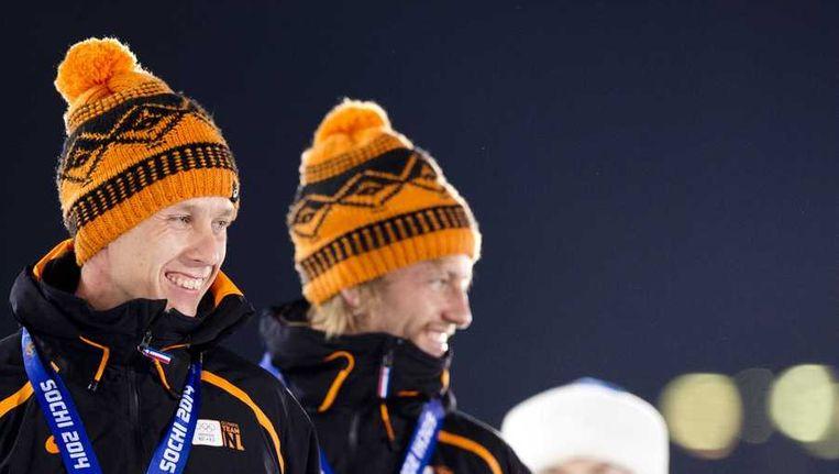 Stefan Groothuis en Michel Mulder donderdag bij de huldiging van de 1000 meter Beeld anp