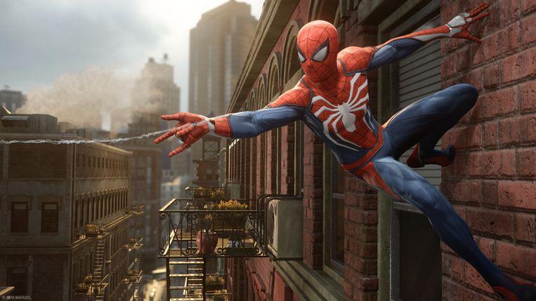 Webslingeren en muurkruipen troef in 'Spider-Man'. Beeld PlayStation
