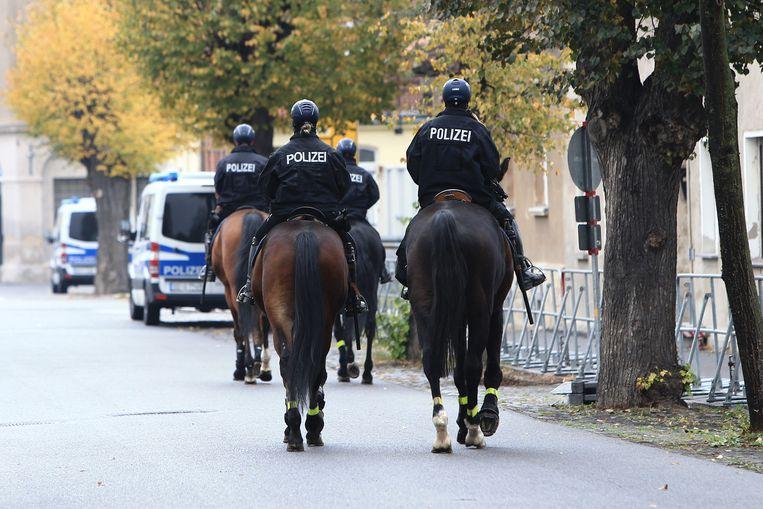 De politie te paard in Ostritz.
