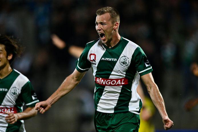 Dolle vreugde bij Arno Verschueren, na zijn knap doelpunt tegen Lierse Kempenzonen.