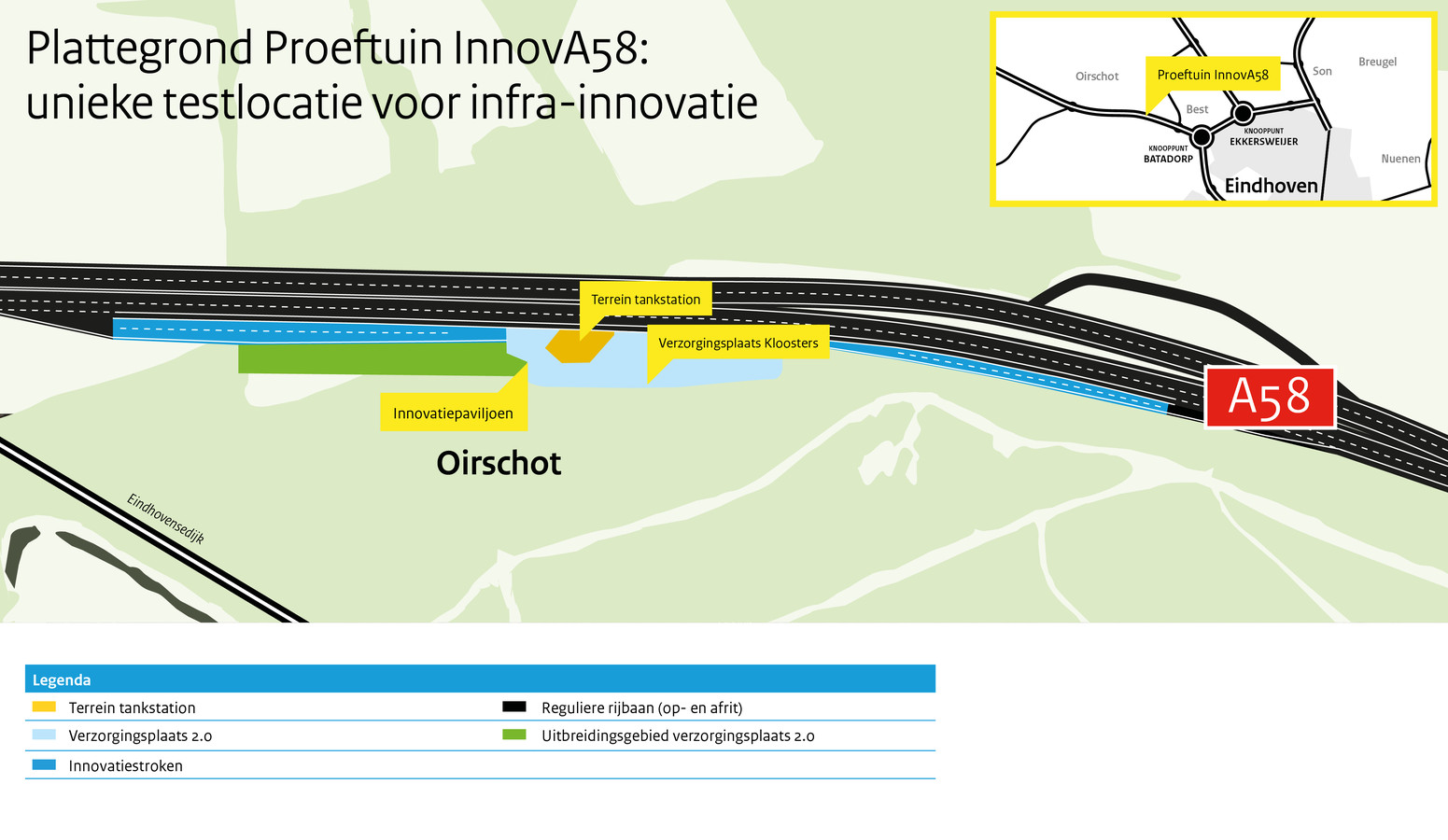 Een plattegrond van de proeftuin die ontwikkeld wordt bij tankstation Kloosters aan de A58 in Oirschot.