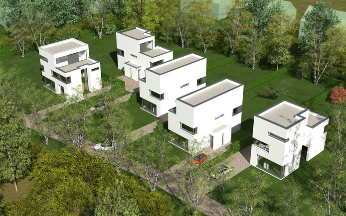 Een impressie van de luxe villa's die aan de Berkenlaan in Waalre worden gerealiseerd.