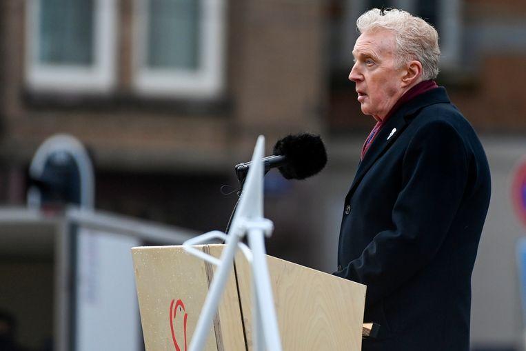 André van Duin hield een rede tijdens de Nationale Dodenherdenking 2021 op de Dam in Amsterdam. Beeld Patrick van Emst, Brunopress