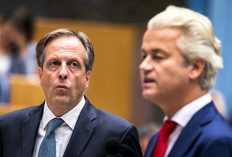Alexander Pechtold (D66) en Geert Wilders (PVV) tijdens de tweede dag van de Algemene Politieke Beschouwingen, 21 september.  Beeld ANP