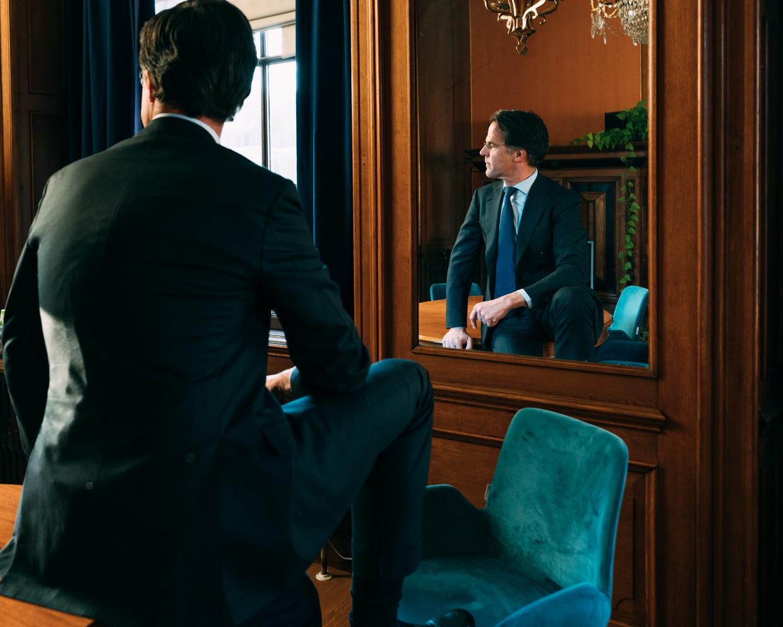 Premier Mark Rutte, de lijsttrekker van de VVD bij de komende Tweede Kamerverkiezingen. Beeld Rebecca Fertinel