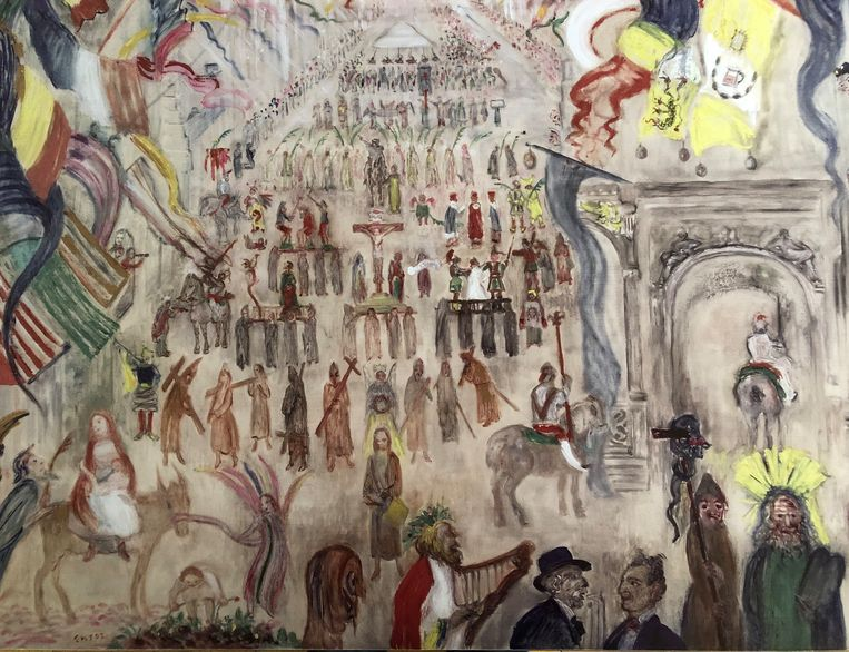 Dit is een reproductie van het schilderij Boetprocessie van James Ensor