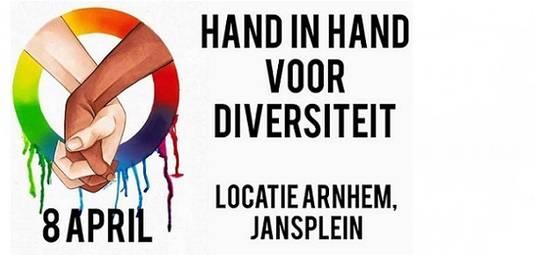 De aankondigingsposter waarmee mensen opgeroepen worden zaterdag naar Arnhem te komen.