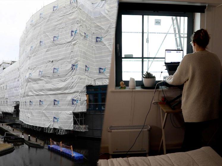 """De mensen in dit appartementsgebouw staren al zes maanden naar een doek: """"Het is deprimerend"""""""