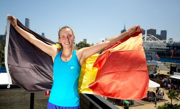 Sinds haar overwinning in de kwartfinale wil de hele wereld weten wie die onbekende Belgische op de Australian Open is. Beeld EPA