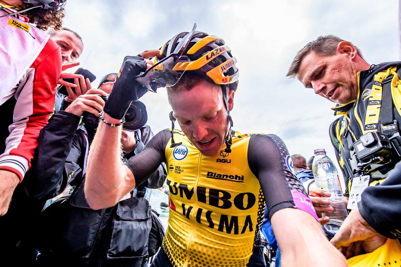 Steven Kruijswijk na afloop van de twintigste etappe van de Tour de France.  Beeld ANP
