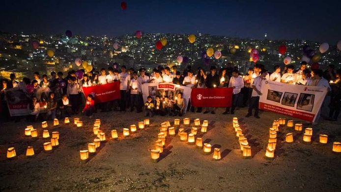 Een internationale actie voor Syrië half maart. Kinderen over de hele wereld hielden een minuut stilte.