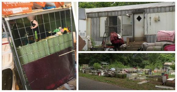 De hondenkooi stond in de overvolle stacaravan.